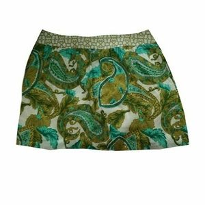 Milly of New York paisley green and gold silk 10